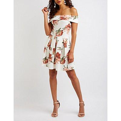 Floral Off The Shoulder Skater Dress
