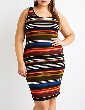 Plus Size Striped Knit Dress