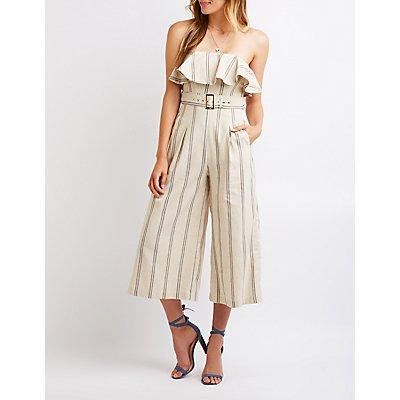 Striped Strapless Culotte Jumpsuit