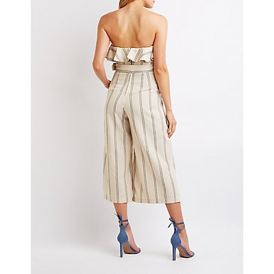Striped Strapless Culotte Jumpsuit
