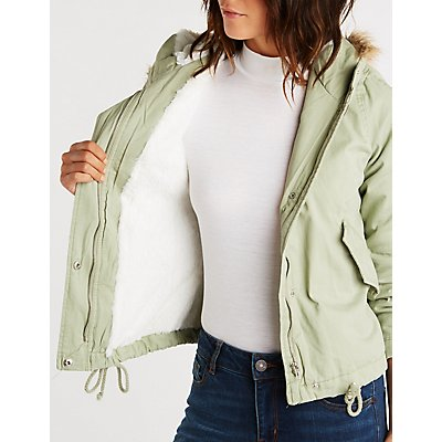 Faux Fur Trim Hooded Anorak Jacket