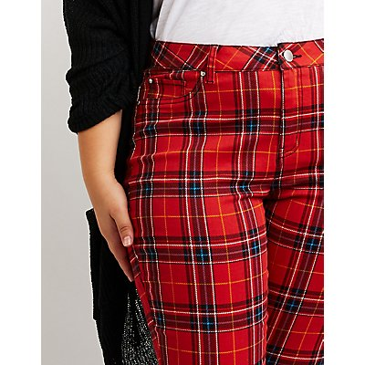 Plus Size Refuge Plaid Skinny Pants