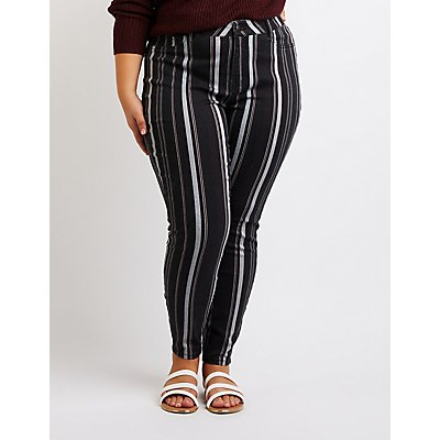 Plus Size Refuge Striped Skinny Jeans