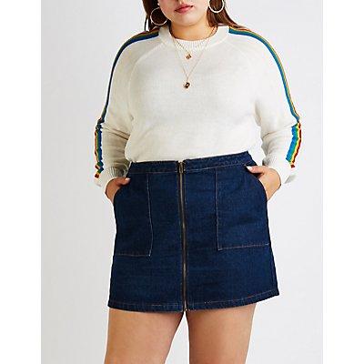 Plus Size Refuge Zip Up Denim Skirt