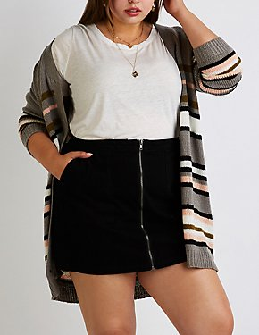 Plus Size Refuge Zip Up Denim Skirt