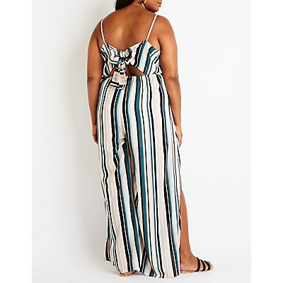 Plus Size Stripe Split Leg Jumpsuit