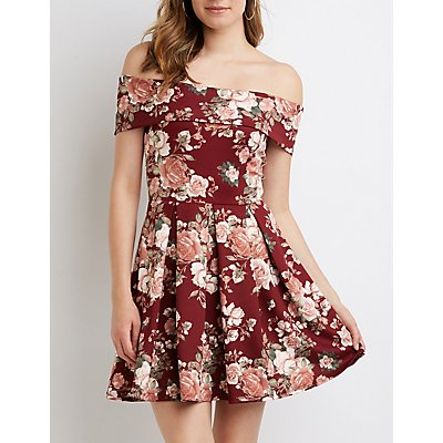 Floral Off The Shoulder Skater Dress