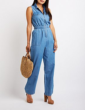 Chambray Zip-Up Jumpsuit
