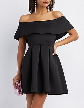 Off The Shoulder Scuba Skater Dress