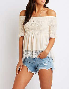 Smocked Off The Shoulder Top