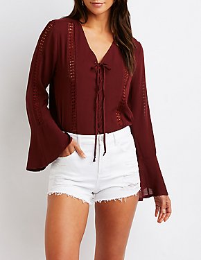 Lace Up Crochet Top