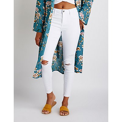 Cello High Waist Destroyed Skinny Jeans