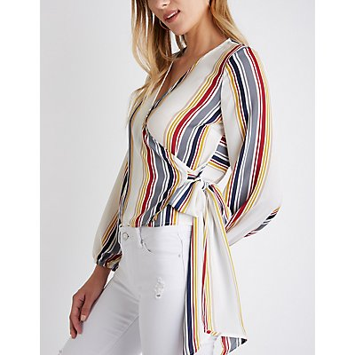 Striped Wrap Top