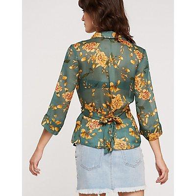 Printed Wrap Kimono