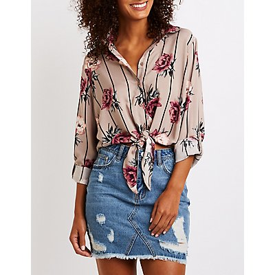 Striped Knotted Button Up Top