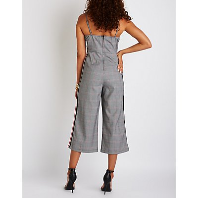 Side Striped Glen Plaid Jumpsuit
