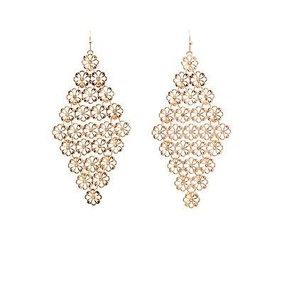 Floral Metal Drop Earrings