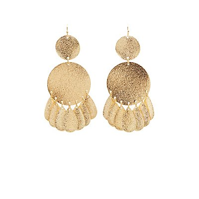 Metal Disk Teardrop Earrings