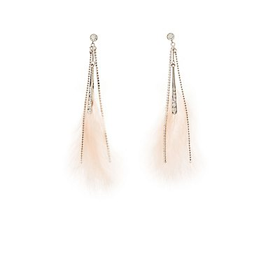 Faux Feather & Crystal Drop Earrings