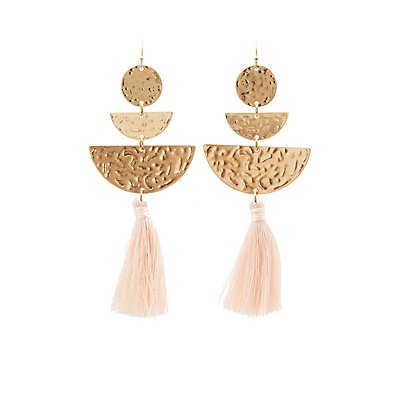 Hammered Metal & Tassel Drop Earrings