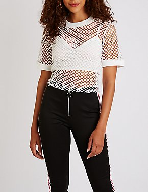 Fishnet Crop Tee