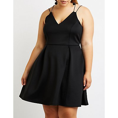 Plus Size V Neck Skater Dress