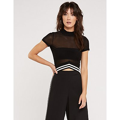 Mock Neck Mesh Top