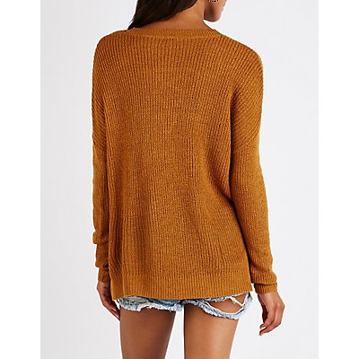 Lace Up Front Pullover Sweater