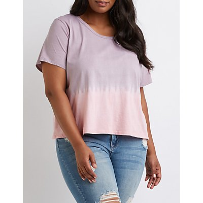 Plus Size Tie Dye Ombre Tee by Charlotte Russe
