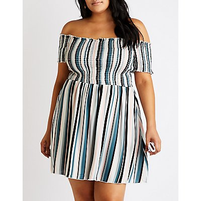 Plus Size Printed Off The Shoulder Dress