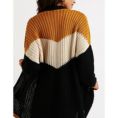 Chevron Colorblock Longline Cardigan