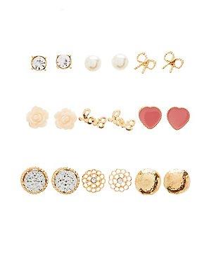 Love Stud Earrings - 9 Pack