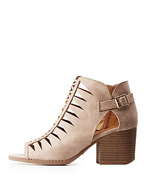 Qupid Laser Cut Buckled Ankle Boots