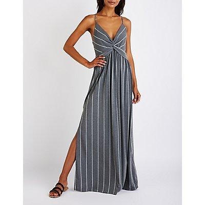 Striped Tie Maxi Dress