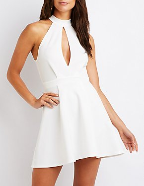 Mock Neck Cut Out Skater Dress