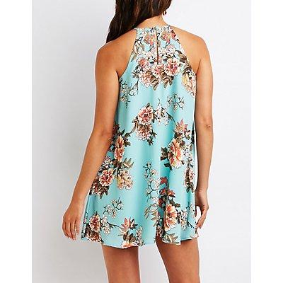 Floral Bib Neck Shift Dress
