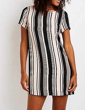 Printed Caged Back Shift Dress