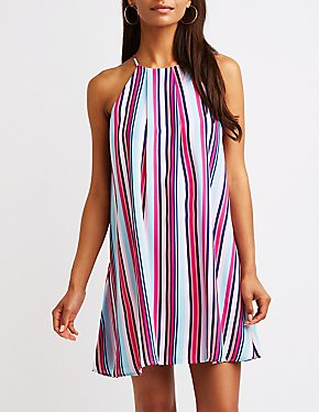 Striped Bib Neck Shift Dress