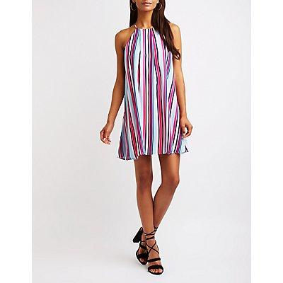 Striped Bib Neck Shift Dress