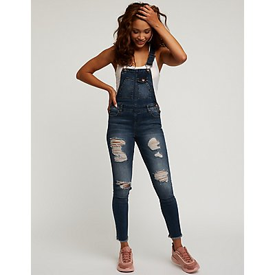 Refuge Destroyed Denim Skinny Overalls