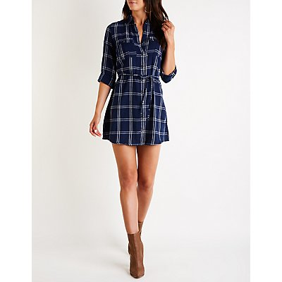Plaid Button Up Shirt Dress