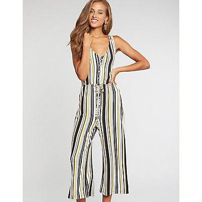 Striped Button Up Jumpsuit