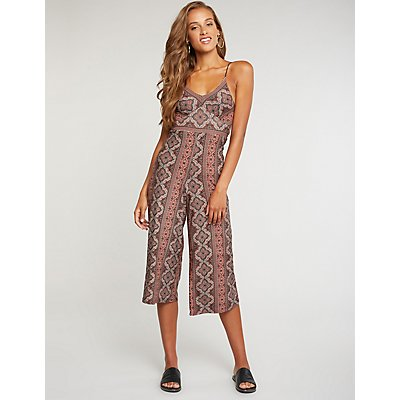 V-Neck Printed Jumpsuit