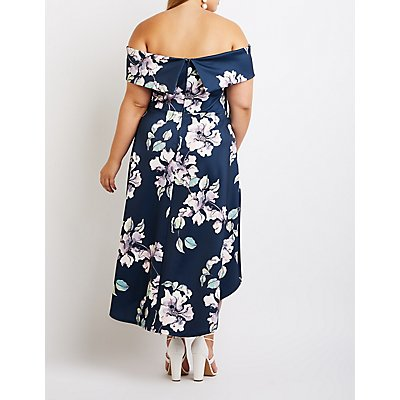 Plus Size Floral Off The Shoulder Maxi Dress