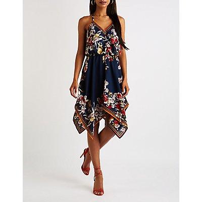 Floral Handkerchief Hem Dress
