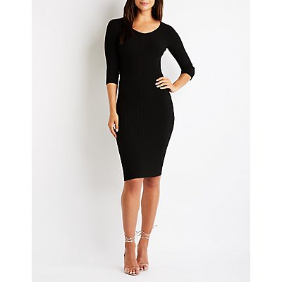 Ribbed Knit Midi Sweater Dress