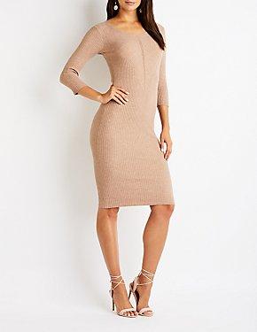 Ribbed Knit Midi Sweater Dress