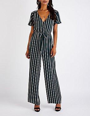 Striped Button Up Jumpsuit