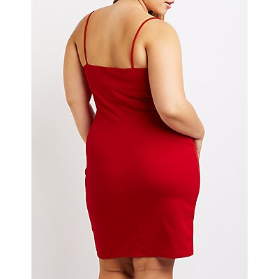 Plus Size Twist Front Bodycon Dress