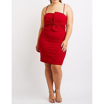Plus Size Twist Front Bodycon Dress